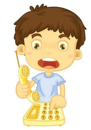 Illustration of boy calling for help