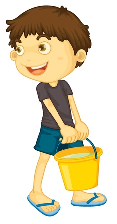 Illustration of boy carrying paint Vector
