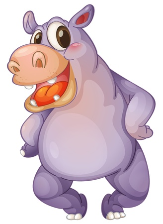 Illustration of a animated hippo Vector