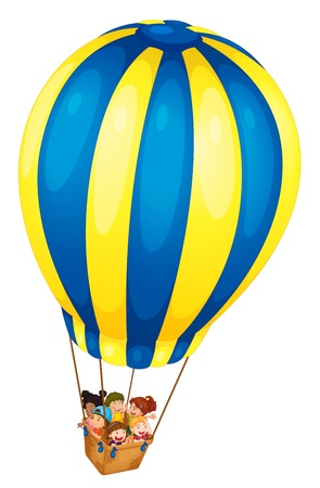 Illustration of kids riding in a balloon Vector