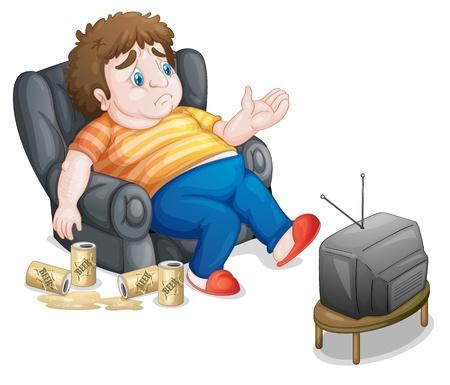 fat man: Ilustraci�n de un hombre gordo y poco saludable