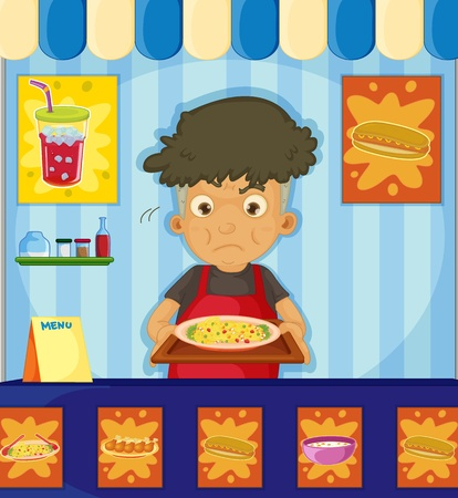 Illustration of an angry man at a hawker center Vector