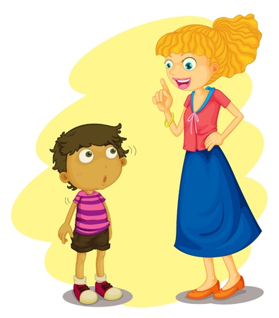 Illustration of mother teaching her son Vector