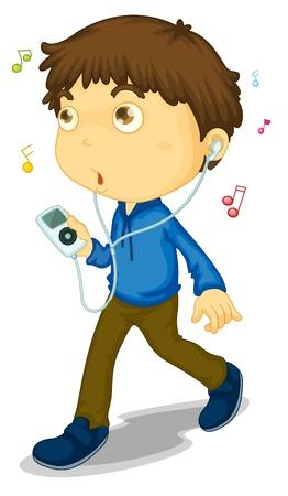Illustration of boy walking with music player Vektoros illusztráció