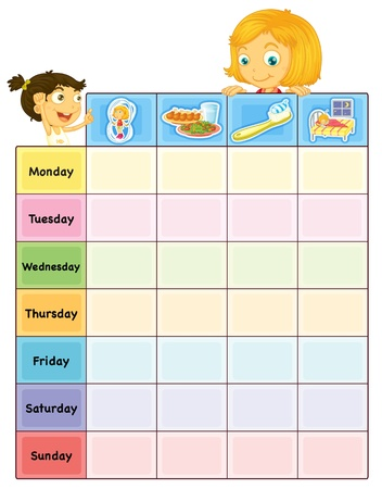 daily routine: Illustration of a daily routine chart Illustration