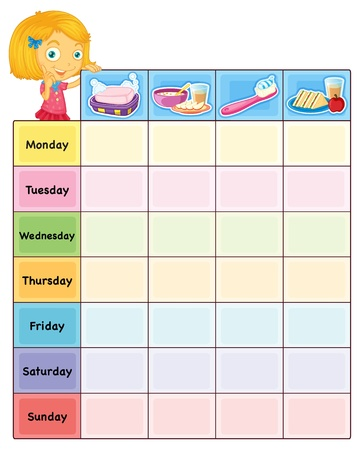 Illustration of a daily routine chart Vector
