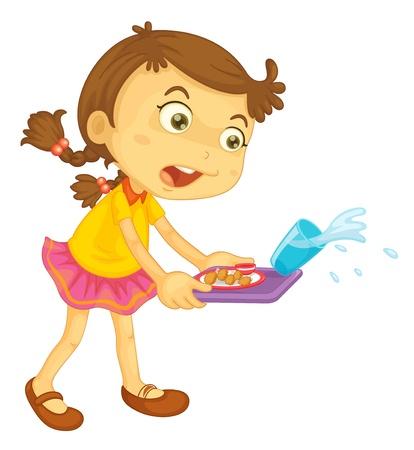 derrames: Ilustraci�n de una ni�a derramar su comida Vectores