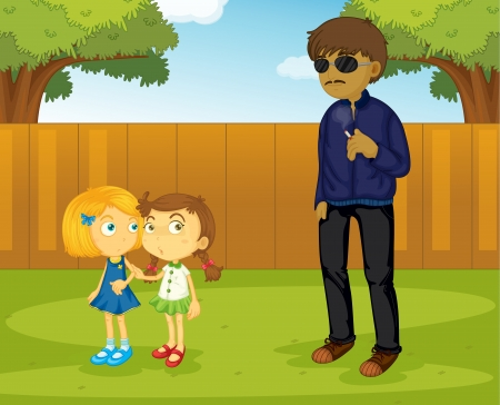 Illustration of a suspicious man approaching girls Vector