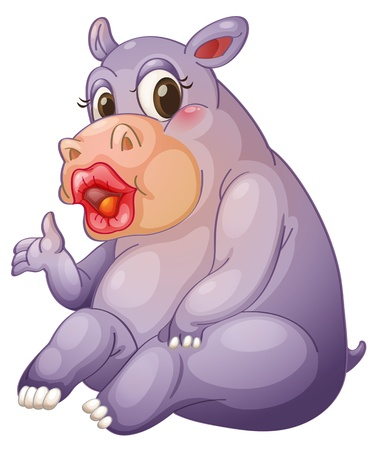 Illustration of a hippo with sexy lips