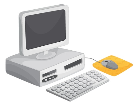 mouse pad: Illustration of a desktop computer