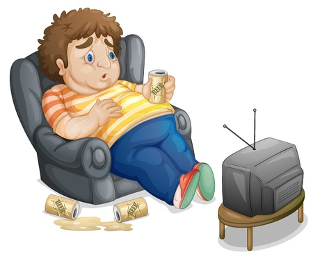 inactive: Fat and unhealthy man watching tv Illustration