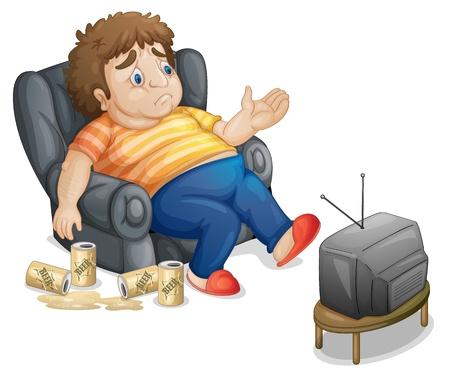 sedentario: Hombre gordo y malsano que ve la TV Vectores
