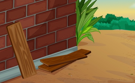brick earth: Illustration of a corner of a house
