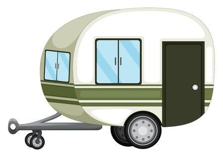 remolque: Ilustración de una caravana en blanco
