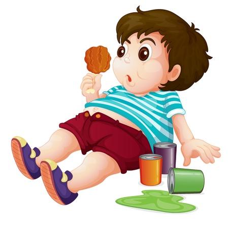 pollo caricatura: Ilustración de un niño con toda la grasa