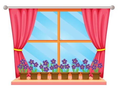 cortinas: Ilustraci�n de un alf�izar de la ventana con flores