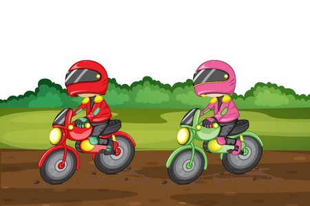 off road: Illustration of people racing dirtbikes