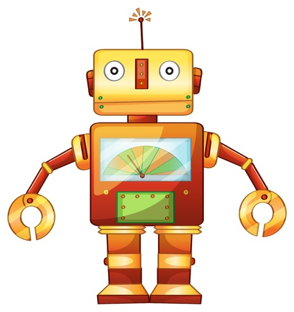 clipart: Illustration av en retro robot Illustration