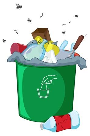mosca caricatura: Ilustración de un cubo de basura lleno