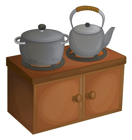 kettle and pot on a wooden cupboard