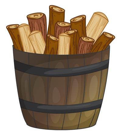log fire: illustrazione di un barile di legno Vettoriali