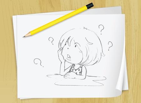 ni�os con l�pices: Ilustraci�n realista de un dibujo de una ni�a en un pedazo de papel