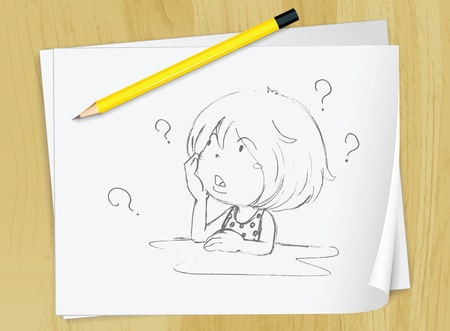 confused person: Realistic illustration of a sketch of a girl on a piece of paper