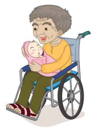 grandchildren: illustration of an old man with a baby