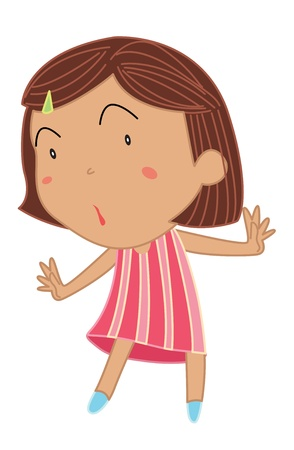 joyful: Cartoon of a cute little girl Illustration