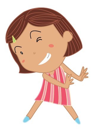 Cartoon of a cute little girl Vector