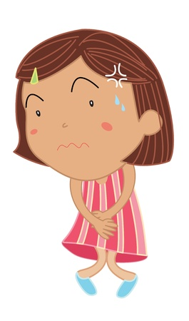 stomach pain: Cartoon of a cute little girl Illustration
