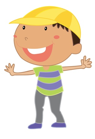 Cartoon of a cute little kid Vector