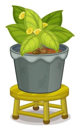sgabelli: illustrazione di una pianta in vaso su uno sgabello Vettoriali