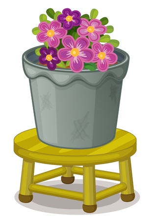 illustration of a pot plant on a stool Vector
