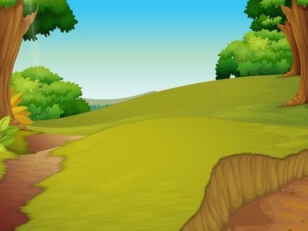 cartoon jungle: Illustration of a clearing of grass