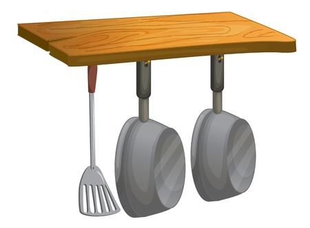 cocina caricatura: Ilustración de las ollas y sartenes colgando