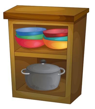Illustration of shelves for a kitchen