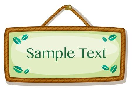 feedback label: Illustration of a small hanging sign Illustration