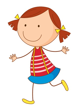plait: Cartoon of a cute little kid