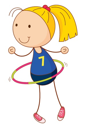 hula: Cartoon of an active kid