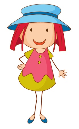 simple girl: cartoon of a girl standing Illustration