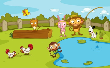 fence park: Illustration of a group of animals by the pond Illustration