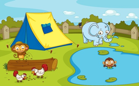 Illustration of a group of animals by the pond Vector
