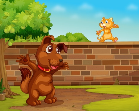 Illustration of a dog and cat playing  Vector