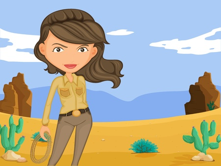 Illustration of a sexy cowgirl in the desert