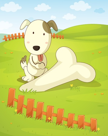 Illustration of a dog unearthing a huge bone Stock Vector - 13593738