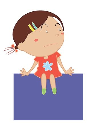 right side: Simple cartoon illustration of a cute girl