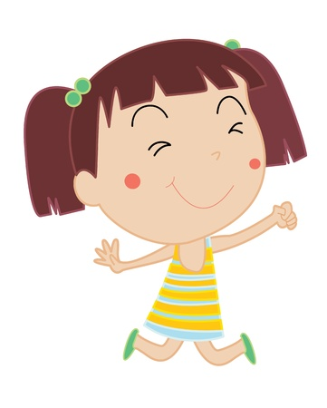 simple girl: Simple cartoon illustration of a cute girl