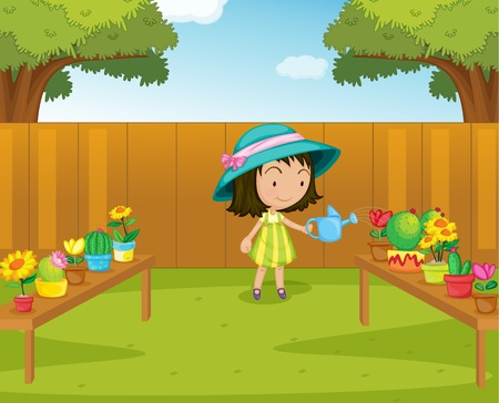 Illustration of a gril watering plants in the garden Vector