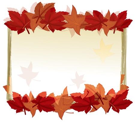 fallen: Illustration of a leaf lined frame
